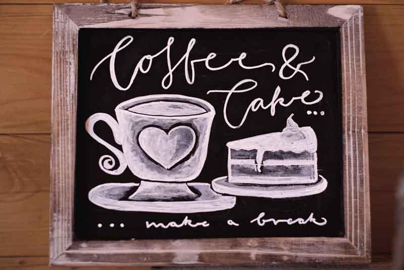 Hoffe and Cake Kreidetafel
